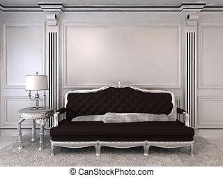 luxuoso, sofá, em, modernos, interior