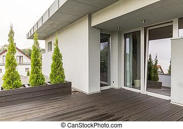Schöne , terrasse, idee, landhaus. Landhaus, hölzern, sofa ...