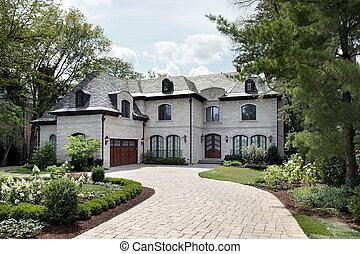 luxuriöses heim, mit, kreisförmig, zufahrt