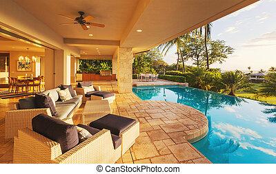 luxuriöses heim, mit, teich, an, sonnenuntergang