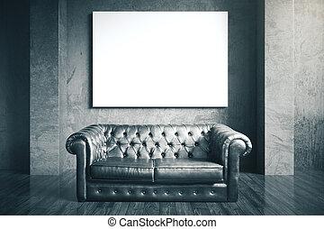 luxuri, divano, cuoio, nero
