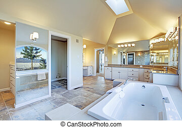 Luxuriant bathroom with whirlpool and amazing window view -...