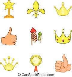Luxuriant icons set, cartoon style - Luxuriant icons set....