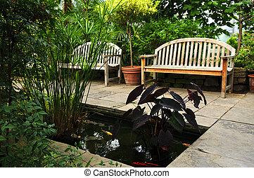 luxuriant, vert, jardin