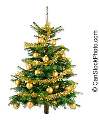 luxuriante, árvore natal, com, ouro, baubles