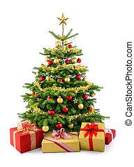 luxuriante, árvore natal, com, presente boxeia