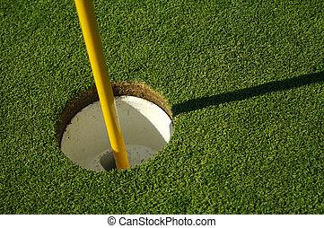 luxuriante, buraco, verde, golfe
