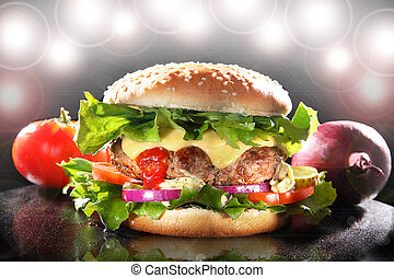 luxuriante, hamburger, estrela