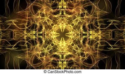 Luxurious abstract background with golden patterns in tunnel convergent and divergent motion, shiny flame ornament,