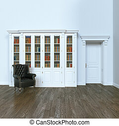 Luxurious and elegant home library with leather classic armchair. 3d render.
