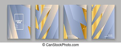Luxurious and rich cover vector illustration set, golden foil and gold lines. Blue light abstract background template invitation. Geometric shapes trendy pattern for design presentation, print, web