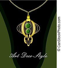 Luxurious art deco pendant with green gems emerald on gold chain, fashion in victorian style, antique golden jewel
