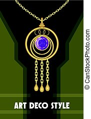 Luxurious art deco pendant with purple gem amethyst on gentle gold chain, fashion in victorian style, antique golden jewel
