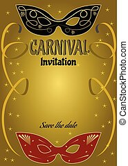 Luxurious ball invitation with vintage black and red mask on gold gradient background with golden ribbons and small golden stars