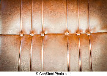 luxurious brown leather texture of sofa closeup shot. vintage retro style