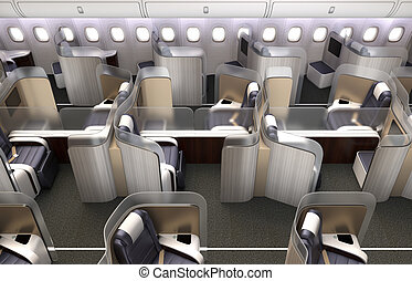 Luxurious business class cabin interior. Each seat divided...