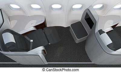 Luxurious business class cabin interior with frosted acrylic...