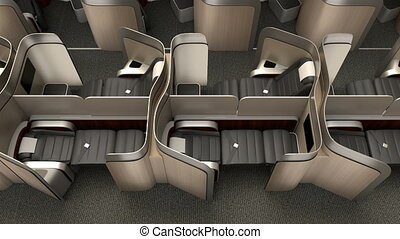 Luxurious business class cabin interior with metallic gold...