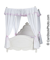 Luxurious canopy bed isolated