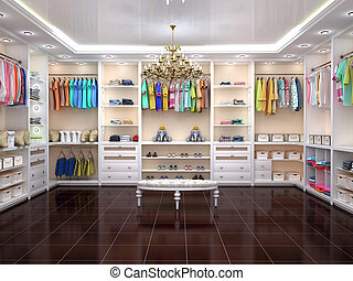 Luxurious children's wardrobe in a modern style. 3d ...