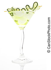 Luxurious cocktail with ice and cucumber garnish isolated. -...
