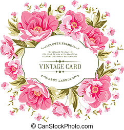 Luxurious vintage card of color peony . Vector illistration.
