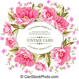 Luxurious color peony pattern. - Luxurious vintage card of...