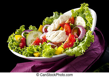 Luxurious colorful salad.