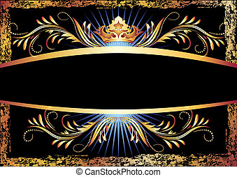 Luxurious copper ornament and crown - Background with...