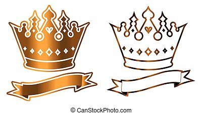 Luxurious crown logo vector template - Gold shiny luxurious ...