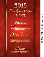 Luxurious elegant New Year's Eve menu design