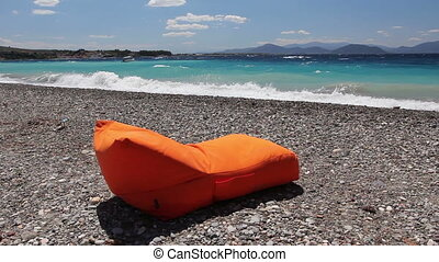 Luxurious fashion loungers, sunbed for relaxing by the sandy...