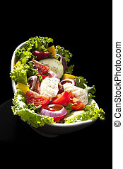 Luxurious fresh vegetable salad.
