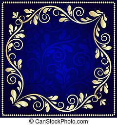 Luxurious gold pattern frame on a dark blue background