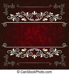 Luxurious gold pattern frame on a dark burgundy background