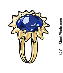 Luxurious Gold Ring with Blue Stone Illustration