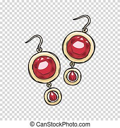 Luxurious Gold Ruby Earrings Isolated Illustration -...
