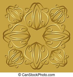 Luxurious golden tile with plastic vintage ornament, elegant vector background for gift boxes, packages