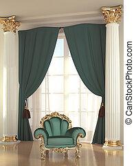 Luxurious green armchair in baroque apartment interior