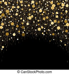 Luxurious greeting card with golden sparkles. Black shimmer background