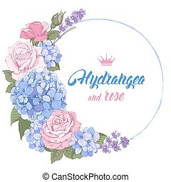 Luxurious hydrangea and roses - Vintage card with hand drawn...