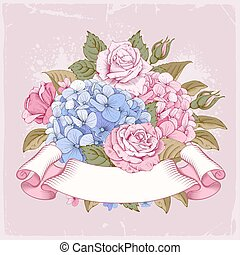 Luxurious hydrangea and roses - Vintage luxury card with...