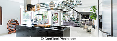 Luxurious interior in estate - Panoramic view of luxurious ...