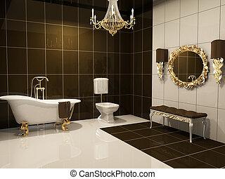 Luxurious interior of bathroom