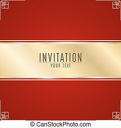 Luxurious invitation. Golden ribbon banner on a red...