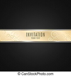 Luxurious invitation to the event. Golden ribbon banner on a black background with a pattern of mesh. Realistic gold strip with an inscription. VIP invitation. Vector