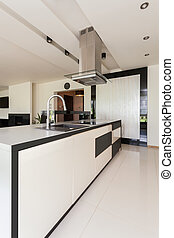Luxurious kitchen in modern flat - Interior of luxurious ...