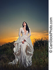 Luxurious lady in sunset