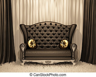 Luxurious leather sofa with pillows on the curtain ...