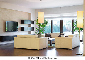 Luxurious lounge - Image of new luxurious lounge with wooden...